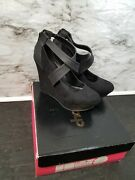 Charlotte Russe Womens Size 9 Black Strappy Wedges Heels Sexy Black Shoes Euc