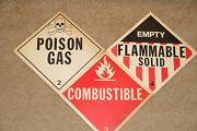 Vintage Santa Fe Railroad Paper Signs Flammable Solid Combustible Qty 3 Safety
