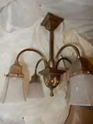 Arts And Crafts Mission Brass Pendant Chandelier W Old Frosted Panel Shades
