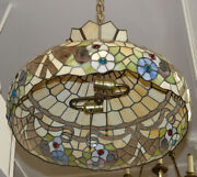 Style Stained Glass Double Light Hanging Shade Chandelier Lantern C1940