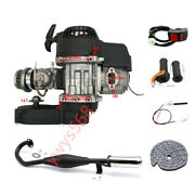 2 Stroke 47cc 49cc Engine Motor + Exhaust Pipe Cable Throttle Grips Rocket Quad