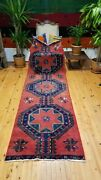 Antique 1900-1930s Wool Pile Kurdish Runner 3and039 X 10and039