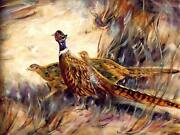 """Sale Sale Original Pheasant Oil Painting On Canvas Signed 18"""" X 24"""" Signed"""