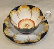 Beautiful Victoria Crown Cande Bone China England Jonquil Tea Cup And Saucer, Nice