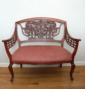 Antique Cherry Finish Wood Settee Hand Carved Ornate Inlay
