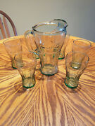 Vintage Classic Coca Cola Green Glass Pitcher With 6 Matching Glasses - Nice