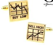 Stock Market Cufflinks In Gold Tone Buy Low / Sell High Brand New