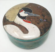 Gorgeous Studio Ceramic Art Pottery Round Box With Lid By George Debikey