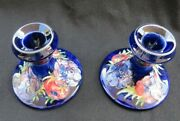 Moorcroft Anemone Blue Art Pottery Pair 2 Of Candle Sticks Holders Signed 3.5