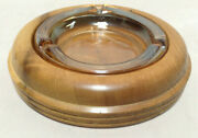 Vintage Oregon Myrtlewood And Glass Ash Tray - 1968 Over 50 Years Old