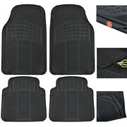 Rubber Car Floor Mats 6 Pack Black Heavy Duty All Weather Protection Truck Suv