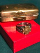 Spanish American War Veteranand039s Ring Sterling Silver Size 11-12 Brass Case