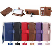 10pcs/lot Solid Color 2 In 1 Zipper Split Pu Leather Case For Iphone Samsung