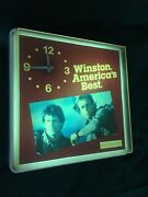 Vintage Winston Cigarettes Lighted Sign With Clock