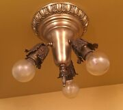 Vintage Lights Three C1910 Early Electric Ceiling Fixtures Three