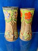 Antique Pottery Vase Set Of 2 Unique Peony Tiger Lily Floral One Of A Kind ❤️m13