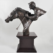 By A Neck Race Horse Cold Cast Bronze Sculpture / Figurine By David Geenty.