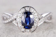 1.42ct Natural Round Diamond Sapphire 14k White Gold Cocktail Ring Size 7 To 9