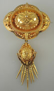 Large Rare 15k Gold Etruscan Brooch W/ Fringed Drop And Locket Back.