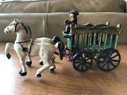Vintage Cast Iron Circus Wagon With Set Of Horses And Driver