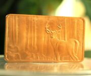 1 Oz Troy Ounce North American Wildlife Series Deer .999 Fine Copper Bullion Bar