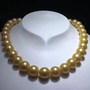 Certified Natural Edison Gold Pearl Round Beads Necklace Women Gift Perfect