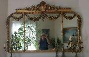 Antique Stunning Gold Leaf Wood Ornate Mirror With Garlands 19-20th C