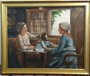 Masterpiece Two Ladies Share Tea Oil On Canvas By Artist Guy Foster