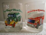 Lot 2 1996 Hess Truck Collectible Tumbler Glasses 1986 Fire Truck 1933 Delivery