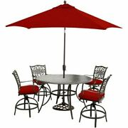Traditions 5-piece High-dining Set With Umbrella And Stand-red