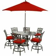 Traditions 7-piece High-dining Set With 9 Ft. Table Umbrella And Stand-red