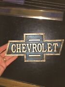 Chevrolet Sign Cast Iron Patina Solid Metal Man Cave Gas Oil Sinclair 2+ Lb Gift