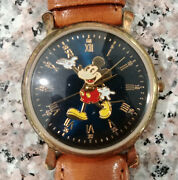 Fossil Ds-92 Mans 33mm Colorfull Mickey Mouse Character Watch Lot Mint