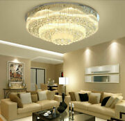 Round Clear Crystal Ceiling Light 3 Color Led Ceiling Lamp Chandelier Lighting