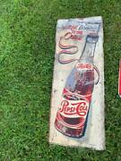 Vintage Pepsi Cola More Bounce To The Ounce Vertical Metal Sign Gas Oil Soda