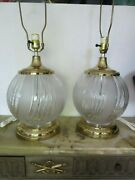 Pair Vintage Table Lamps Glass Brass Lucite Base Mid Century Hollywood Regency