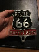 Route 66 Safety License Plate Frame Topper Classic Car Auto Hotrod Truck Gift