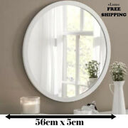 White Round Large Bedroom Bathroom Wall Mirror Simply Elegant Contemporary New |