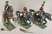 Lot Of 3 Russian Type Hand Painted Lead Miniatures 54mm 1/32 Toy Soldier Figures