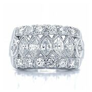 2.00 Carat F Vs1 Marquise And Round Cut Diamond Art Deco Band Set In 14k Gold