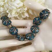 Vintage Jewelry Turquoise And Sterling Silver Chain Bracelet Antique Jewellery