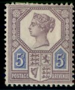 Great Britain 118a, 5p Lilac And Blue, Rare Type I, Og, Hinged, Signed Bloch F/vf