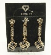 Gems Tv Earrings And Pendant Set Sterling Silver Black Onyx Gothic Puzzle Charm
