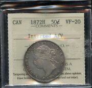 1872h Canada Fifty Cents - Inverted A/v - Iccs Vf-20