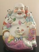 Large Antique Famille Rose Laughing Buddha W/ 5 Kids Fertility Statue And Base