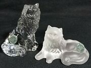 Vintage 1996 Lenox Crystal Frosted/clear Figurine Glamour Glass Cats Set Of 2pc