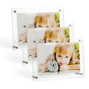 6x8 Acrylic Photo Frame Display Holder On Desktop 0.24 Inches Thickness3 Pack