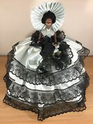 Vintage African American Southern Belle Doll Mint Green Dress Black Lace