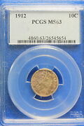 1912 Pcgs Ms63 Barber Dime.a9698