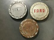 3 Pc Ford 250 3/4 Ton Pickup Dog Dish Center Caps Mounting Size 9 1961-1966